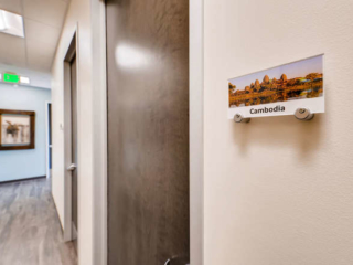 Each patient room is named after a place that has special meaning. We sponsor child protection projects in Cambodia.